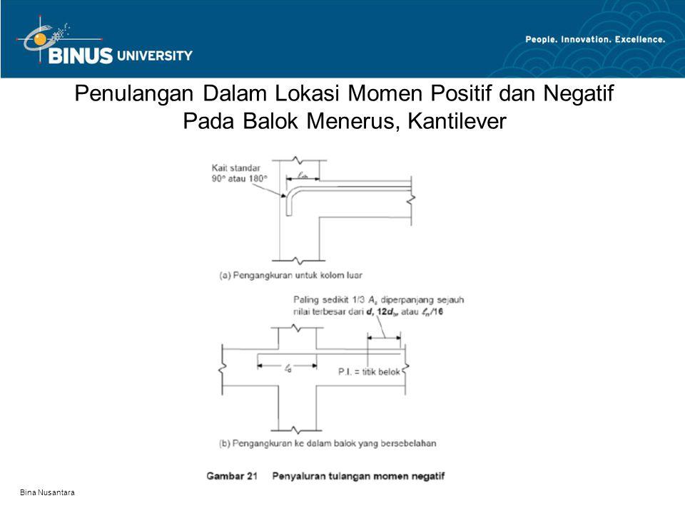 Penulangan Dalam Lokasi Momen Positif dan Negatif Pada Balok Menerus, Kantilever