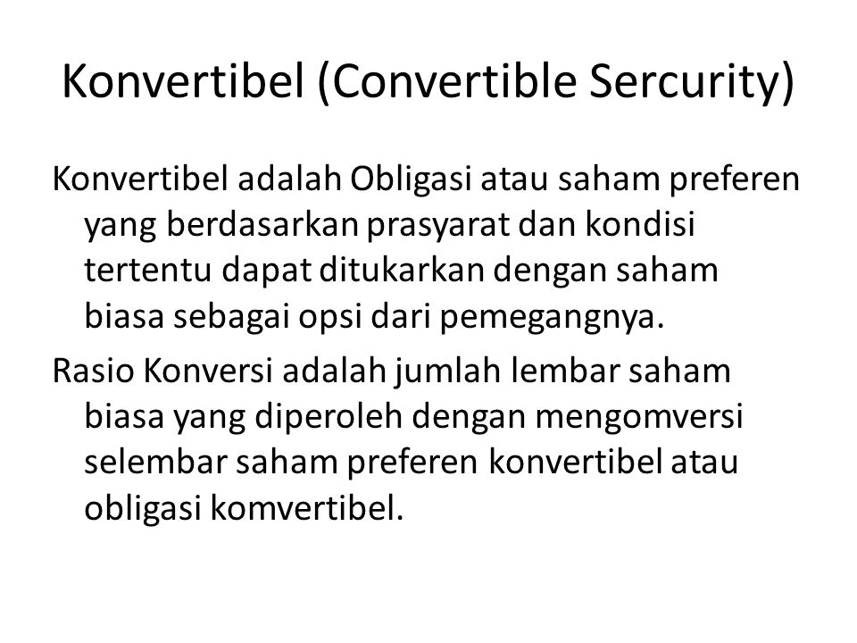 Konvertibel (Convertible Sercurity)