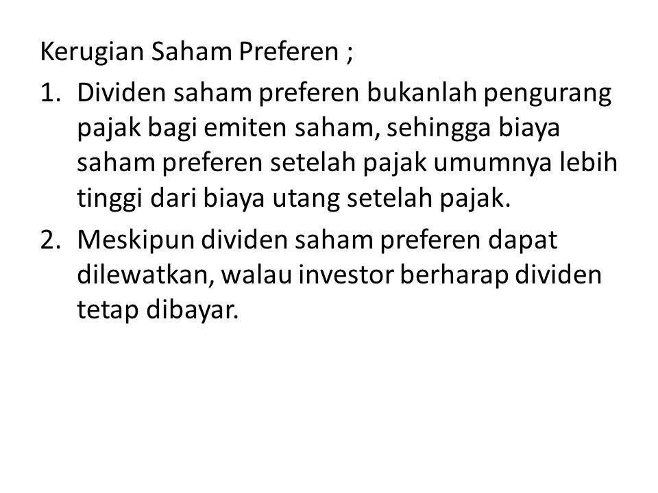 Kerugian Saham Preferen ;