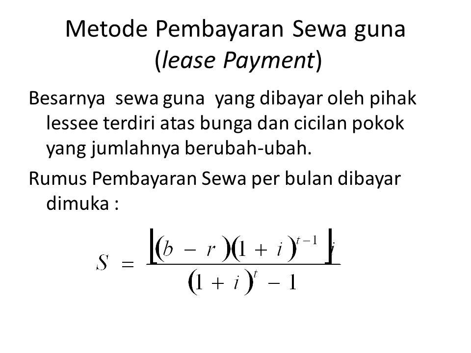 Metode Pembayaran Sewa guna (lease Payment)