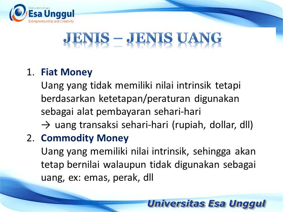 Jenis – jenis uang 1. Fiat Money