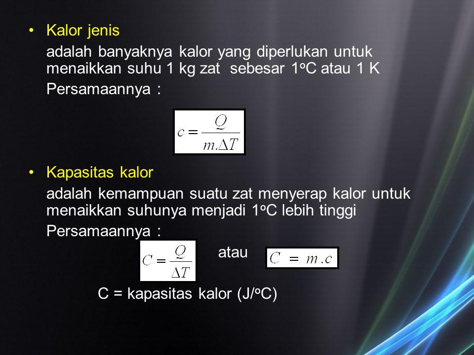 Kalor jenis adalah banyaknya kalor yang diperlukan untuk menaikkan suhu 1 kg zat sebesar 1oC atau 1 K.