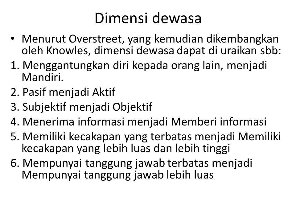 Dimensi dewasa Menurut Overstreet, yang kemudian dikembangkan oleh Knowles, dimensi dewasa dapat di uraikan sbb: