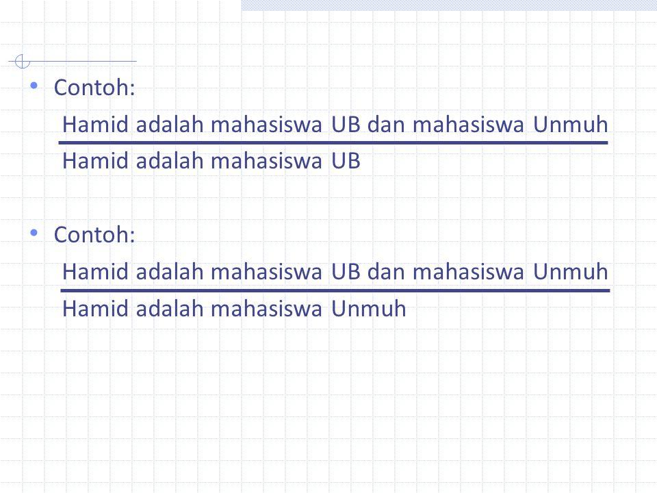Contoh: Hamid adalah mahasiswa UB dan mahasiswa Unmuh.