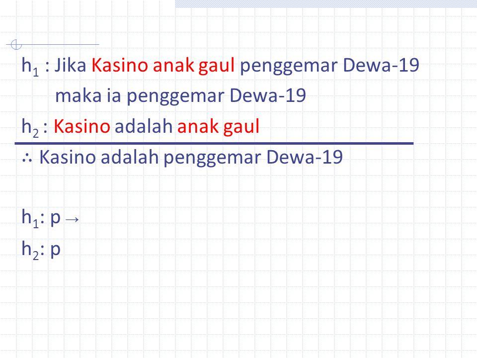 h1 : Jika Kasino anak gaul penggemar Dewa-19 maka ia penggemar Dewa-19 h2 : Kasino adalah anak gaul ∴ Kasino adalah penggemar Dewa-19 h1: p → h2: p