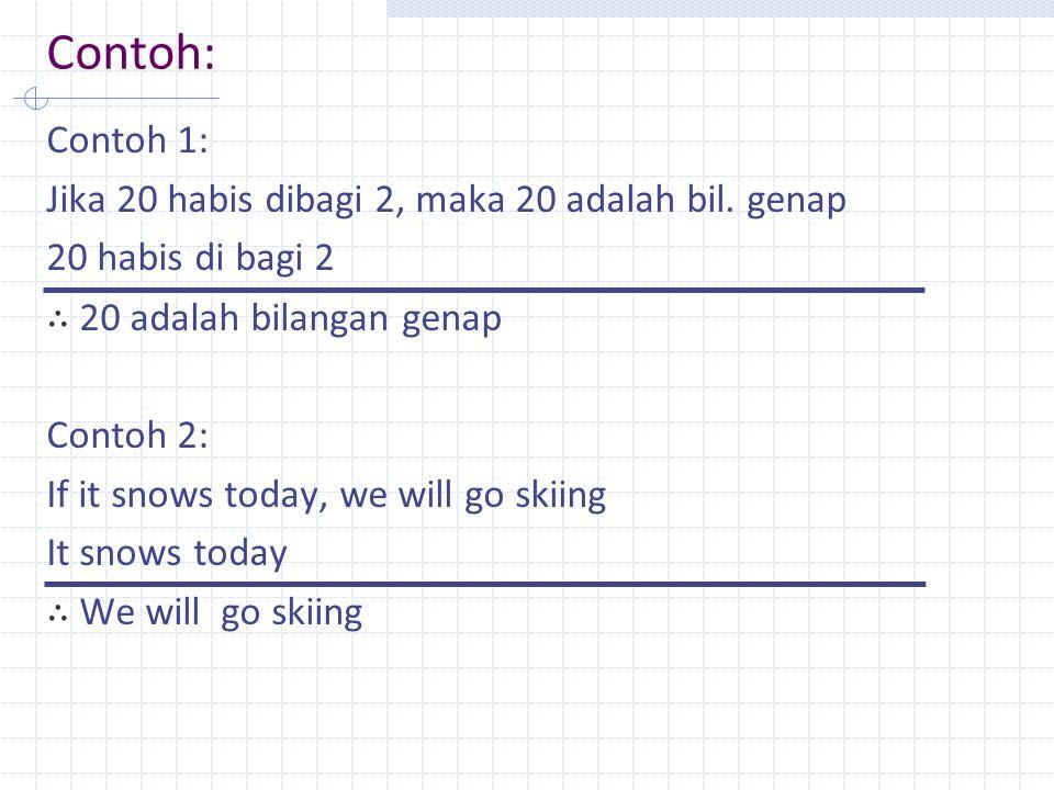 Contoh: Contoh 1: Jika 20 habis dibagi 2, maka 20 adalah bil. genap