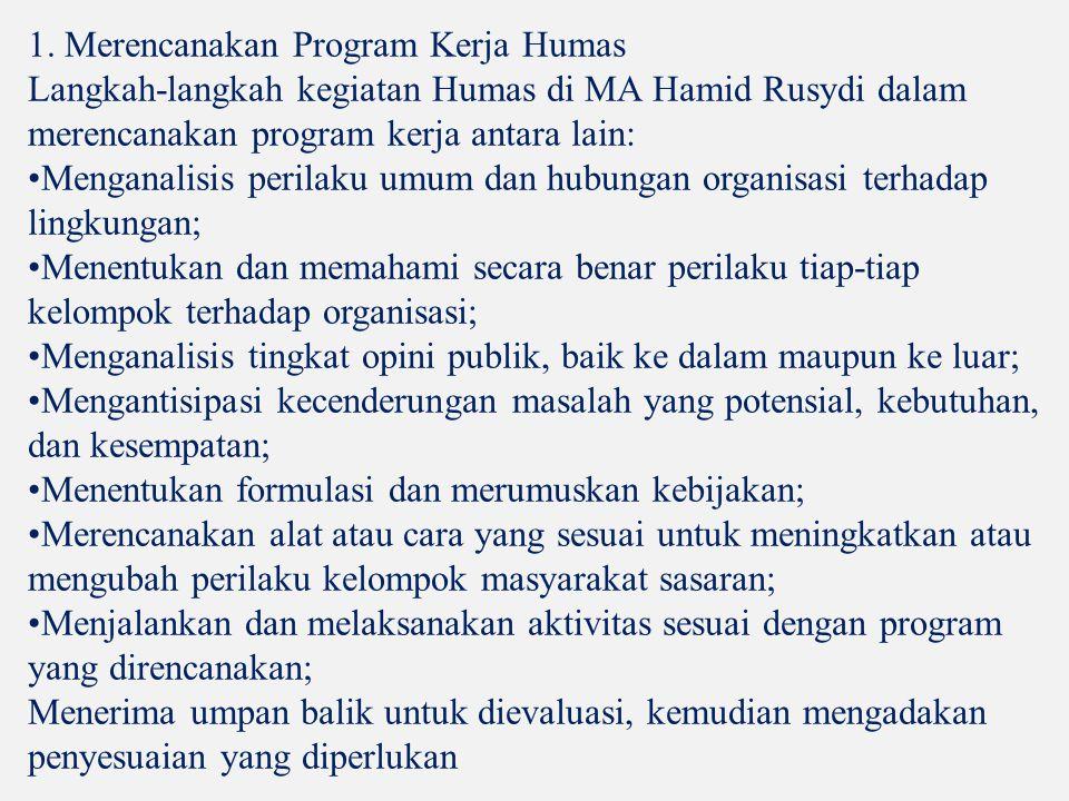 1. Merencanakan Program Kerja Humas