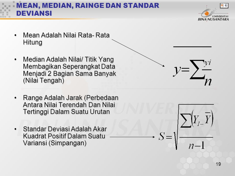 MEAN, MEDIAN, RAINGE DAN STANDAR DEVIANSI