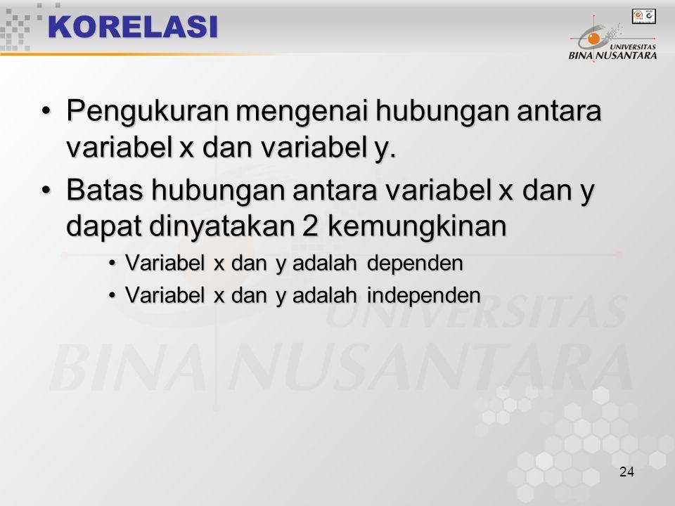 Pengukuran mengenai hubungan antara variabel x dan variabel y.