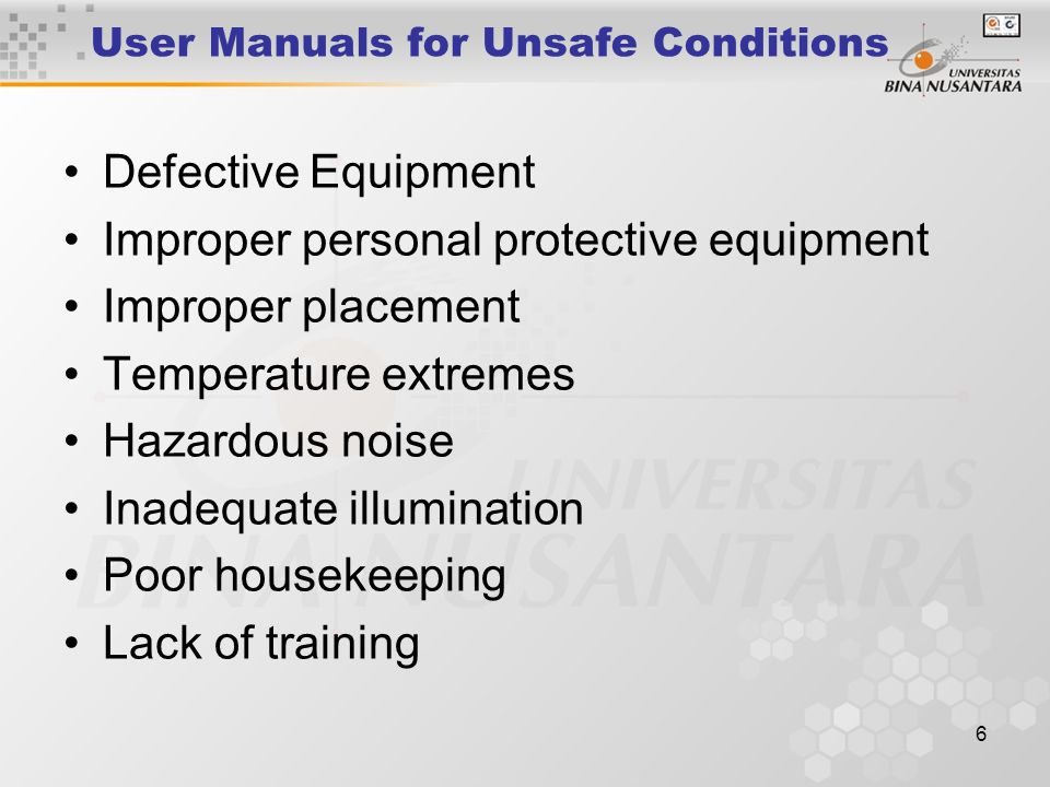 User Manuals for Unsafe Conditions
