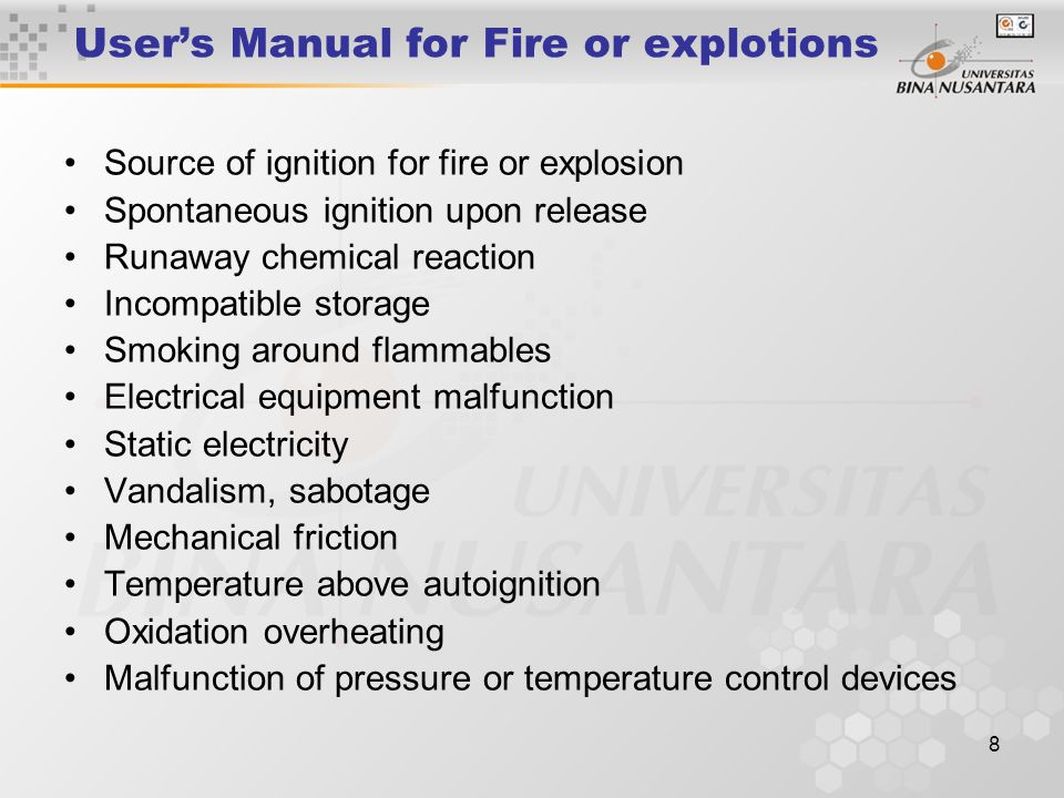 User's Manual for Fire or explotions