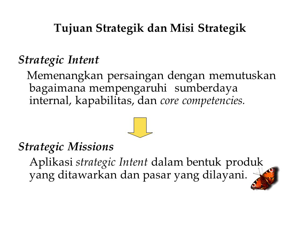 Tujuan Strategik dan Misi Strategik