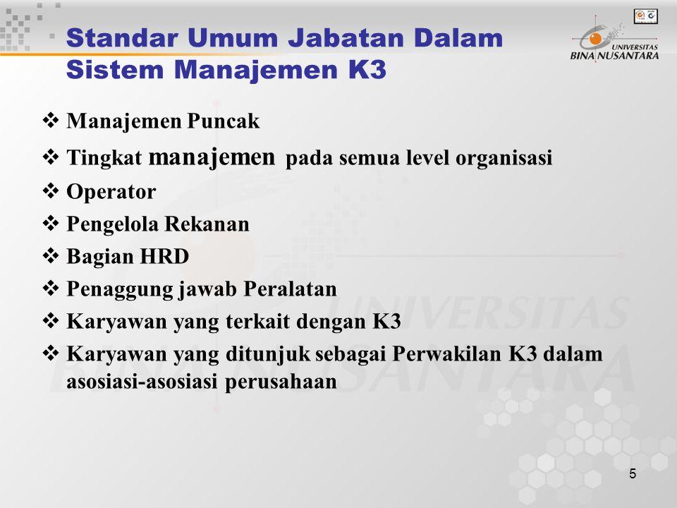 Standar Umum Jabatan Dalam Sistem Manajemen K3
