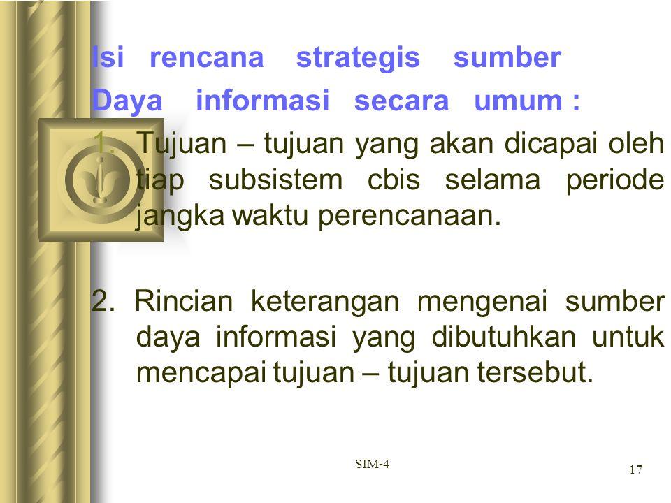 Isi rencana strategis sumber Daya informasi secara umum :