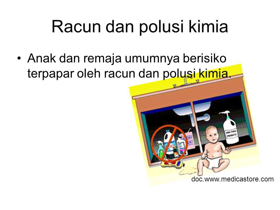 Racun dan polusi kimia Anak dan remaja umumnya berisiko terpapar oleh racun dan polusi kimia.