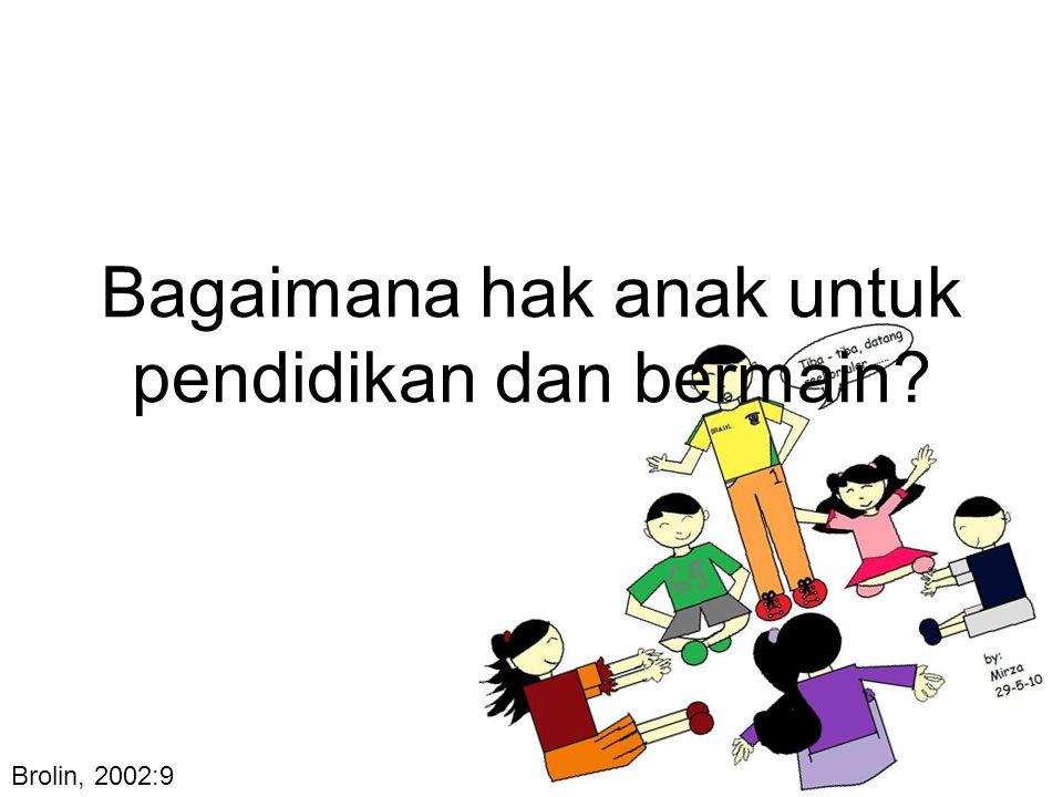 Bagaimana hak anak untuk pendidikan dan bermain