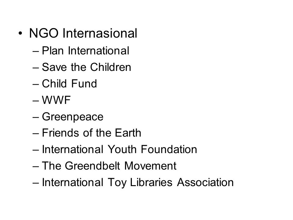 NGO Internasional Plan International Save the Children Child Fund WWF