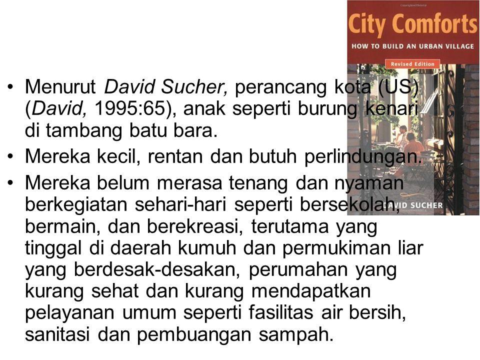 Menurut David Sucher, perancang kota (US) (David, 1995:65), anak seperti burung kenari di tambang batu bara.