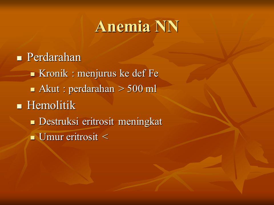 Anemia NN Perdarahan Hemolitik Kronik : menjurus ke def Fe