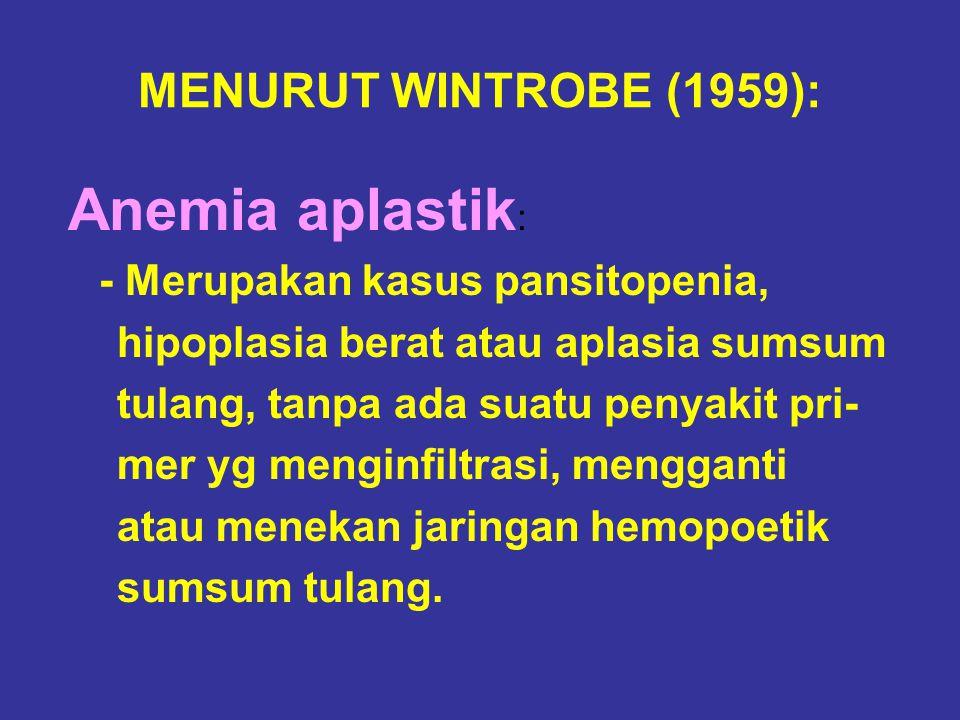 MENURUT WINTROBE (1959): hipoplasia berat atau aplasia sumsum
