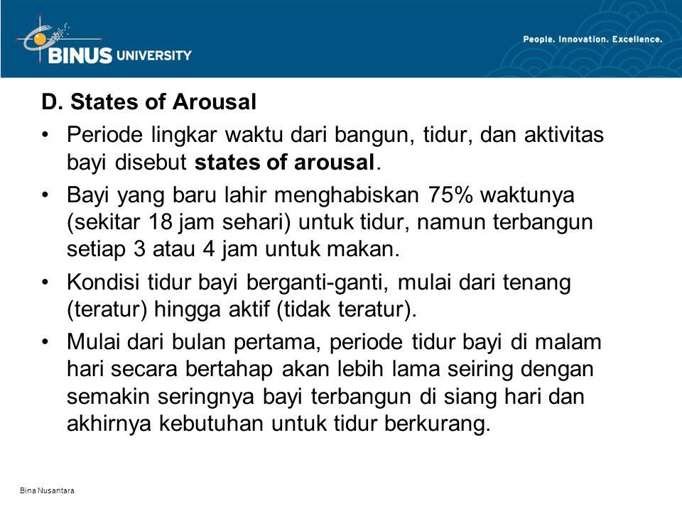 D. States of Arousal Periode lingkar waktu dari bangun, tidur, dan aktivitas bayi disebut states of arousal.