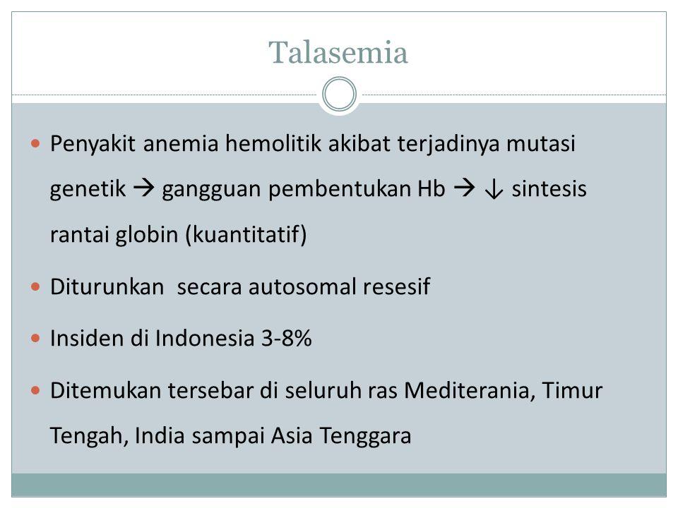 Talasemia Penyakit anemia hemolitik akibat terjadinya mutasi genetik  gangguan pembentukan Hb  ↓ sintesis rantai globin (kuantitatif)