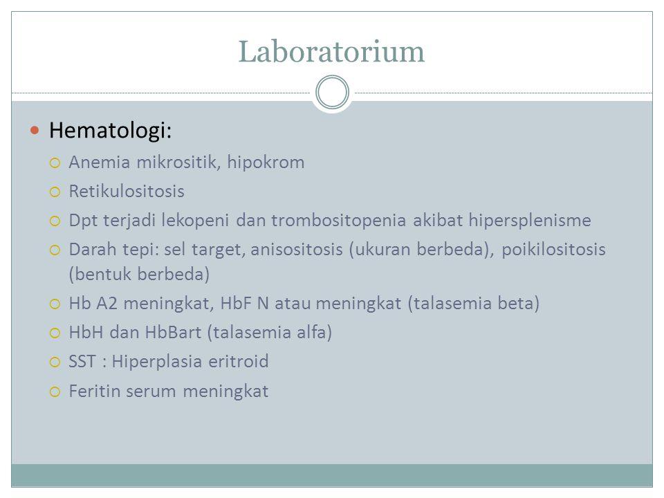 Laboratorium Hematologi: Anemia mikrositik, hipokrom Retikulositosis