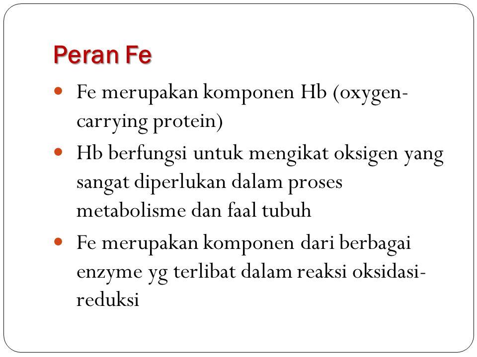Peran Fe Fe merupakan komponen Hb (oxygen- carrying protein)