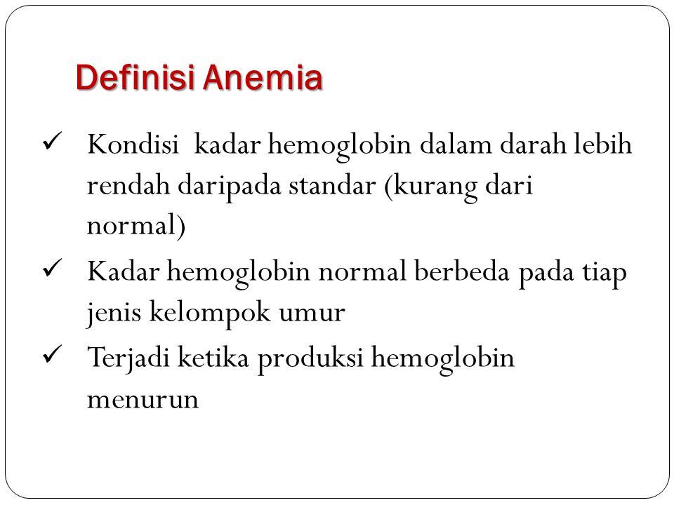 Definisi Anemia Kondisi kadar hemoglobin dalam darah lebih rendah daripada standar (kurang dari normal)