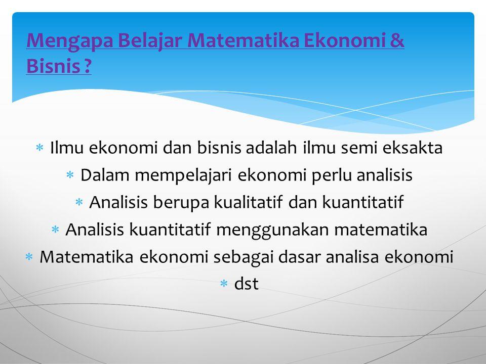 Mengapa Belajar Matematika Ekonomi & Bisnis