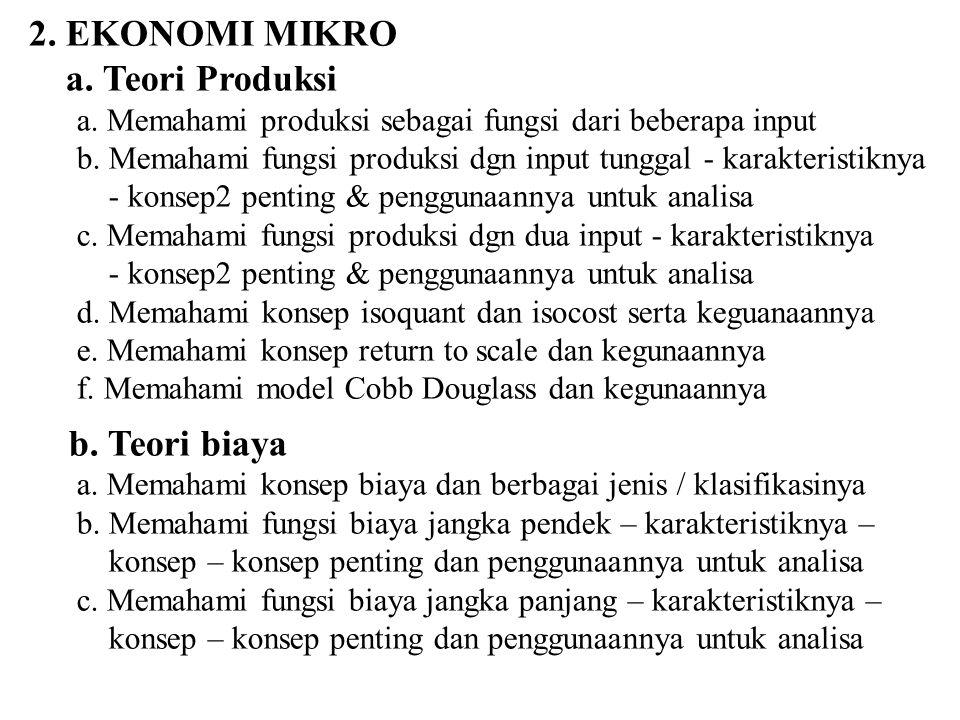 2. EKONOMI MIKRO a. Teori Produksi