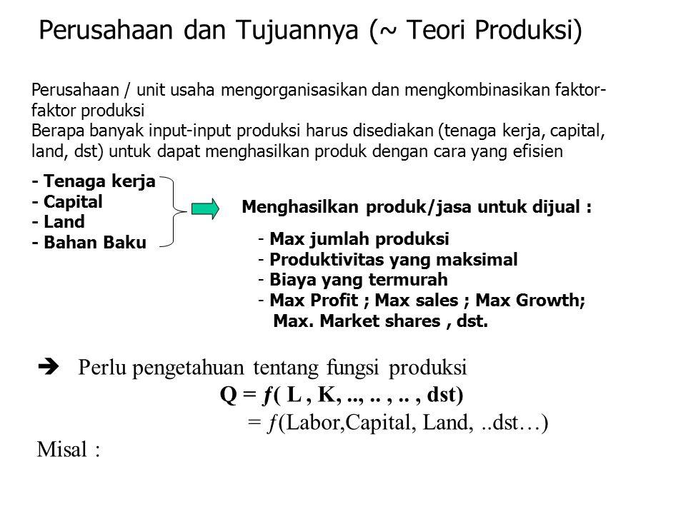 Perusahaan dan Tujuannya (~ Teori Produksi)