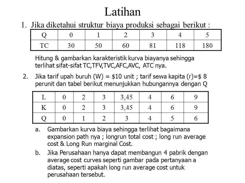 Latihan Jika diketahui struktur biaya produksi sebagai berikut : Q 1 2
