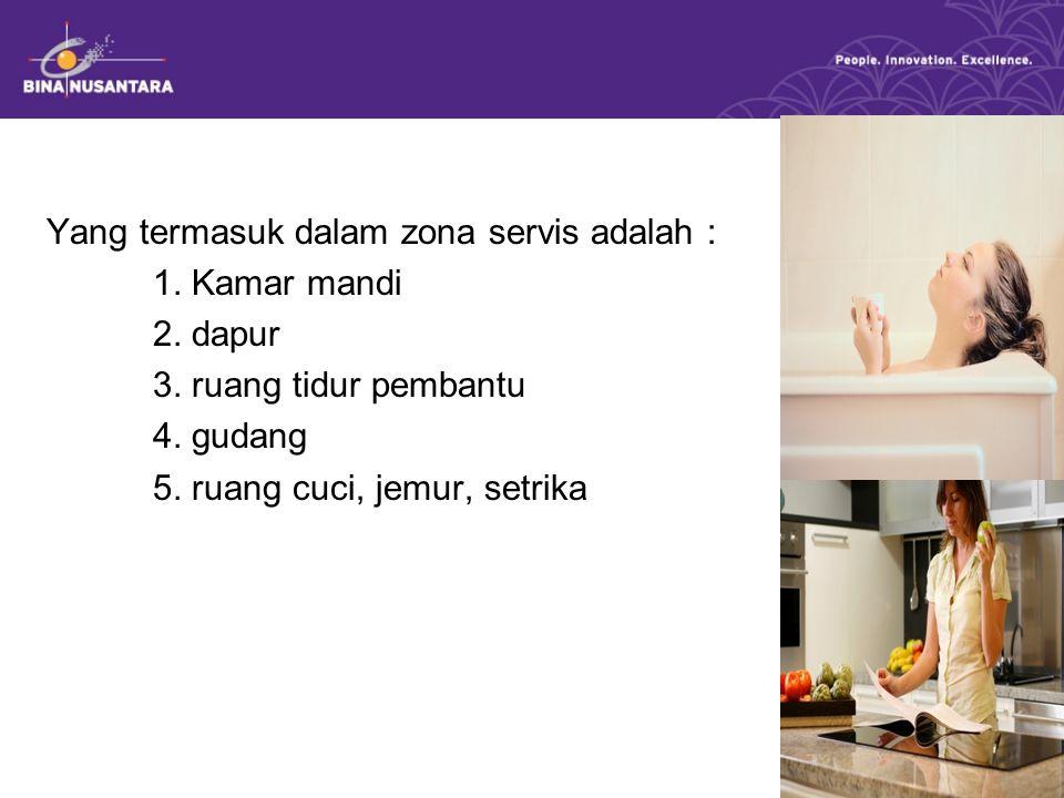 Yang termasuk dalam zona servis adalah :
