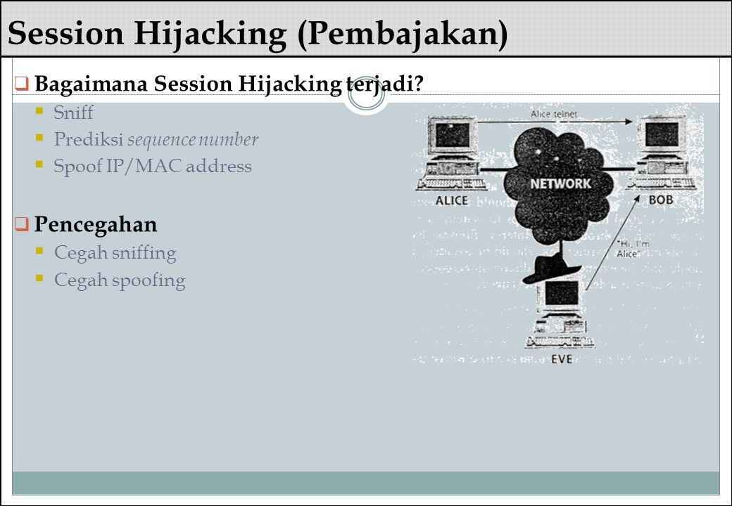 Session Hijacking (Pembajakan)