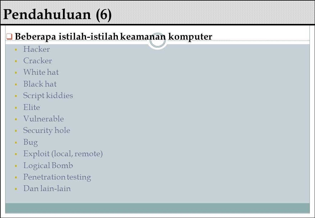 Pendahuluan (6) Beberapa istilah-istilah keamanan komputer Hacker