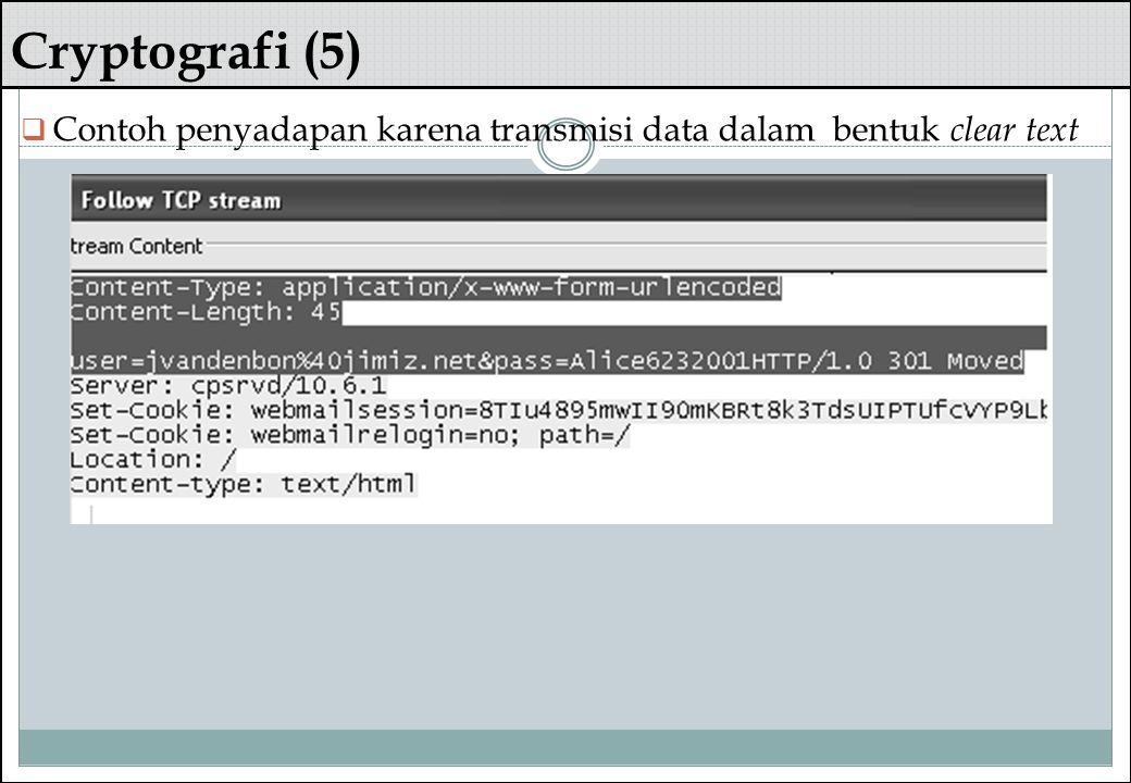 Cryptografi (5) Contoh penyadapan karena transmisi data dalam bentuk clear text