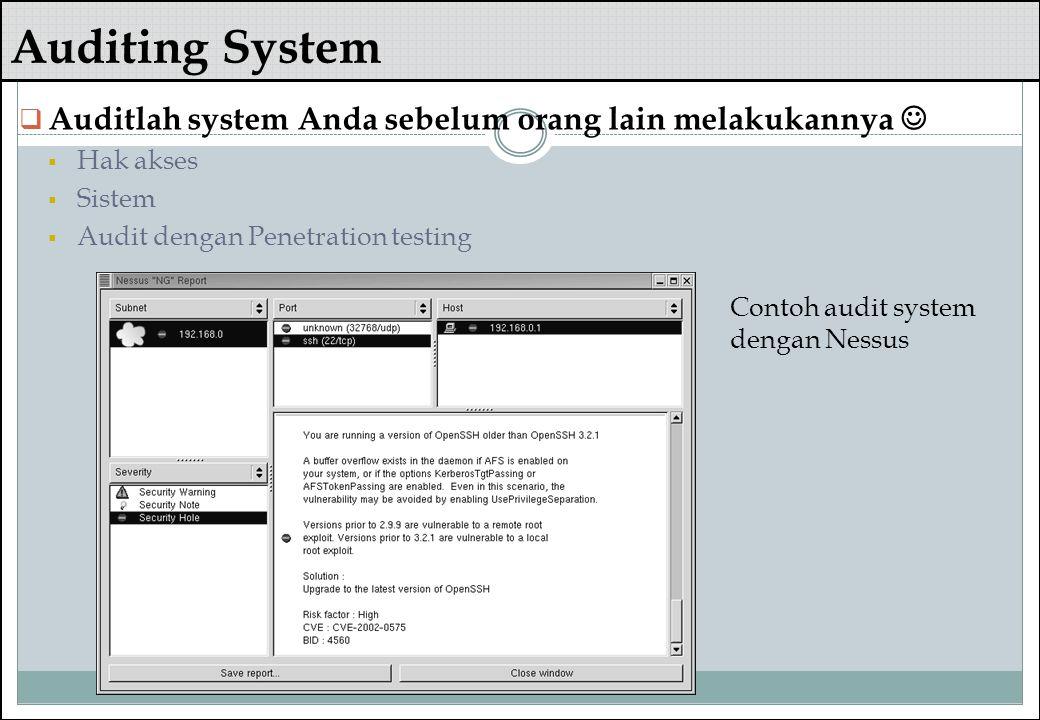 Auditing System Auditlah system Anda sebelum orang lain melakukannya 