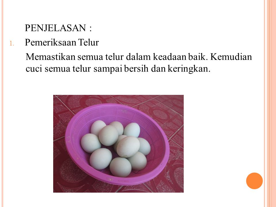 PENJELASAN : Pemeriksaan Telur. Memastikan semua telur dalam keadaan baik.