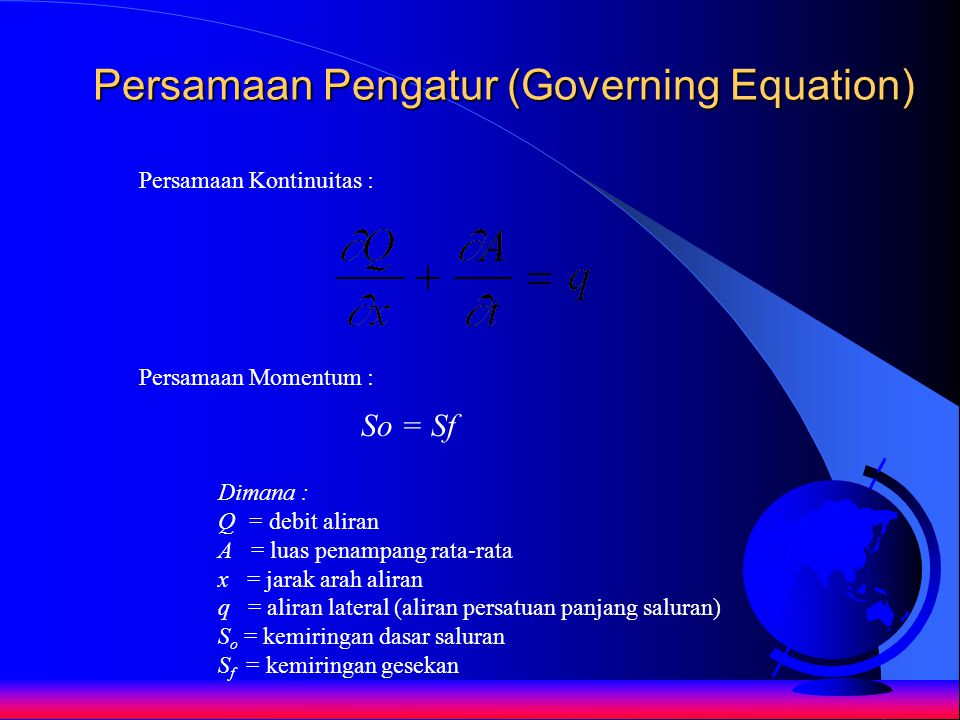 Persamaan Pengatur (Governing Equation)