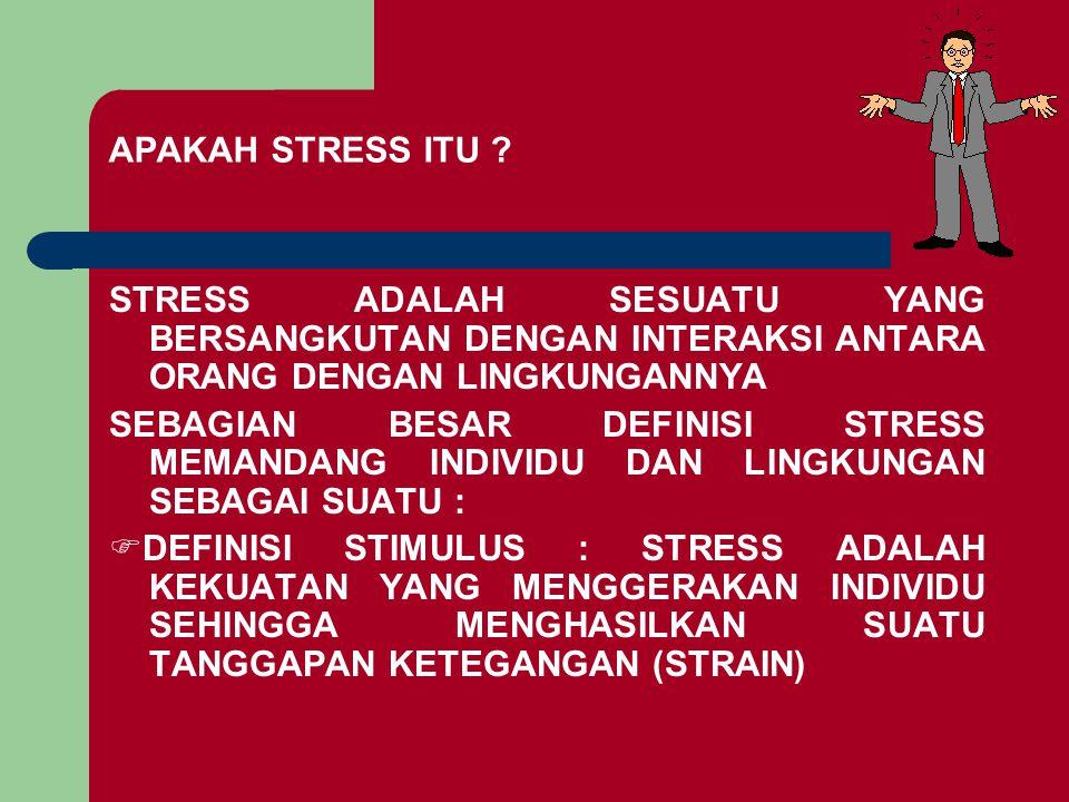 APAKAH STRESS ITU STRESS ADALAH SESUATU YANG BERSANGKUTAN DENGAN INTERAKSI ANTARA ORANG DENGAN LINGKUNGANNYA.