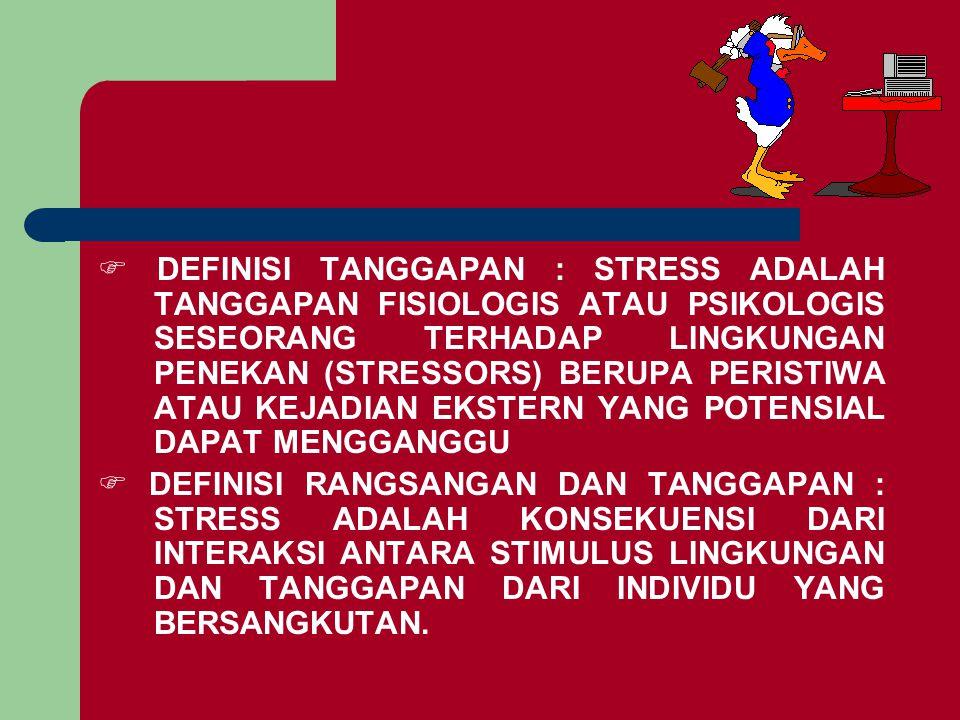 F DEFINISI TANGGAPAN : STRESS ADALAH TANGGAPAN FISIOLOGIS ATAU PSIKOLOGIS SESEORANG TERHADAP LINGKUNGAN PENEKAN (STRESSORS) BERUPA PERISTIWA ATAU KEJADIAN EKSTERN YANG POTENSIAL DAPAT MENGGANGGU