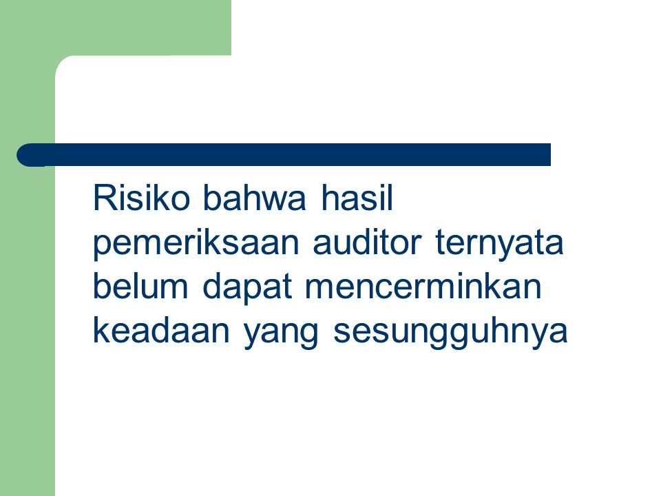 Risiko bahwa hasil pemeriksaan auditor ternyata belum dapat mencerminkan keadaan yang sesungguhnya