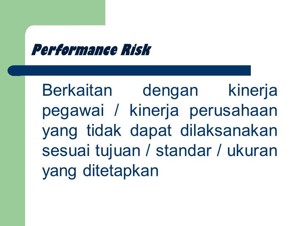 Performance Risk Berkaitan dengan kinerja pegawai / kinerja perusahaan yang tidak dapat dilaksanakan sesuai tujuan / standar / ukuran yang ditetapkan.