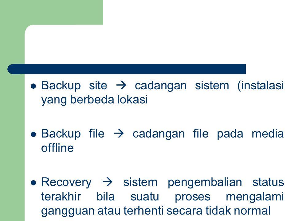Backup site  cadangan sistem (instalasi yang berbeda lokasi