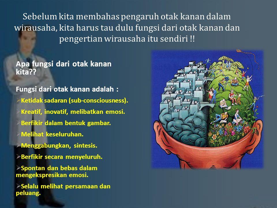 Sebelum kita membahas pengaruh otak kanan dalam wirausaha, kita harus tau dulu fungsi dari otak kanan dan pengertian wirausaha itu sendiri !!