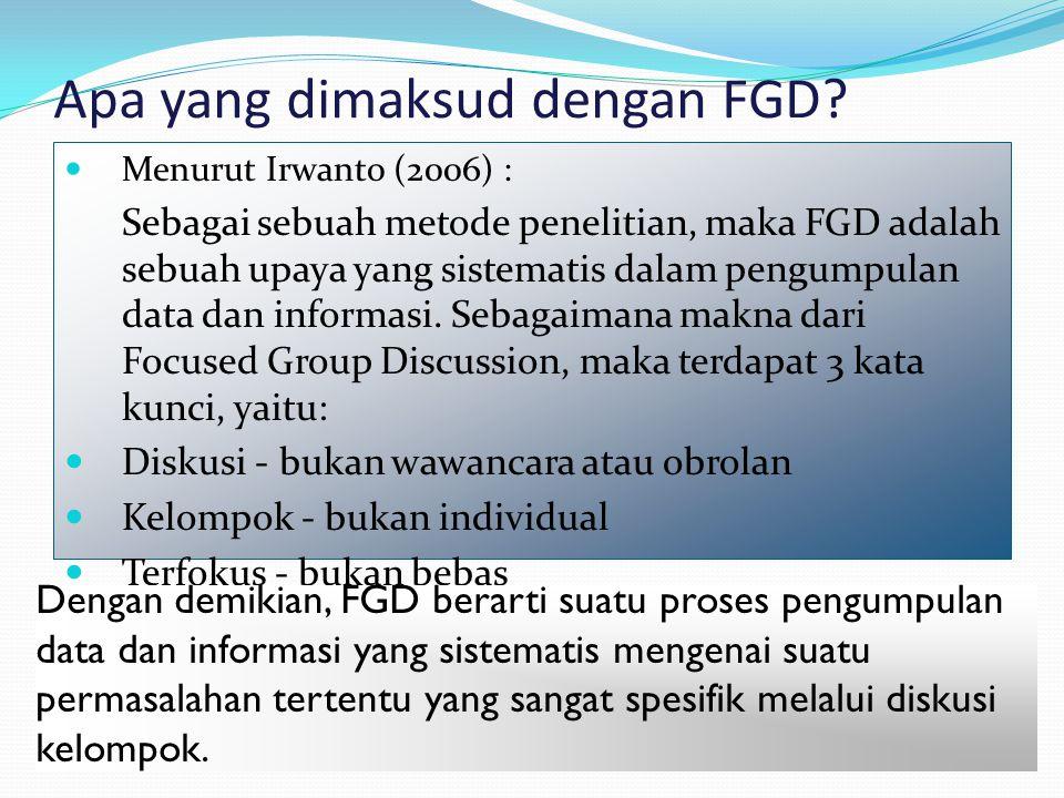 Apa yang dimaksud dengan FGD