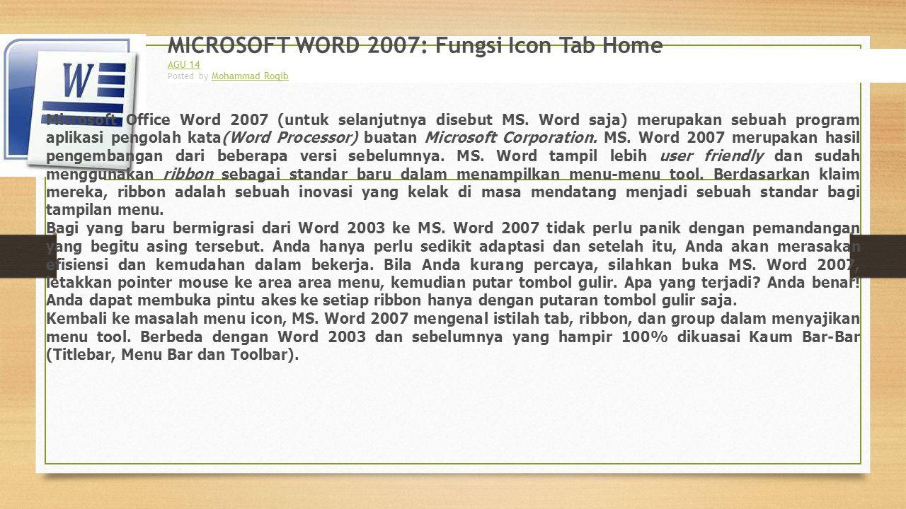 MICROSOFT WORD 2007: Fungsi Icon Tab Home