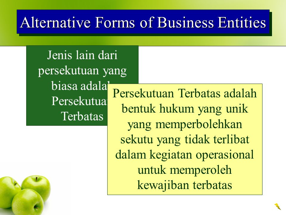 Alternative Forms of Business Entities