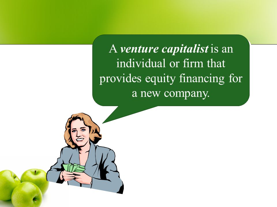 A venture capitalist is an individual or firm that provides equity financing for a new company.